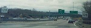 Massachusetts Route 128 - Since 1997, MA Route 128's southern end has been in Canton, where Interstate 95 exits south-westwards on its own roadbed, and Interstate 93 north begins. U.S. Route 1 north continues straight.