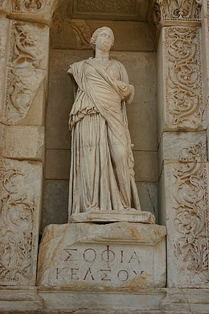 "Sophia (wisdom) - Personification of wisdom (in Greek, ""Σοφία"" or ""Sophia"") at the Celsus Library in Ephesus, Turkey."