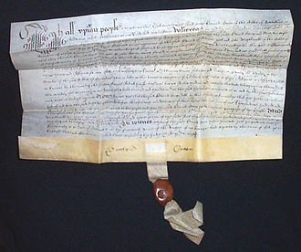 Vellum - A vellum deed dated 1638, with pendent seal attached