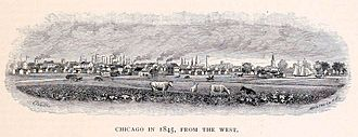 History of Chicago - Chicago from the west in 1845