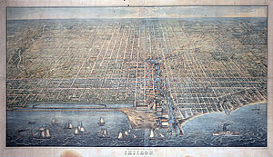 PS Lady Elgin - 1857 Bird's eye view of Chicago, with the Lady Elgin at bottom right