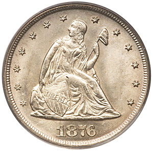 Twenty-cent piece (United States coin) - Image: 1876 CC 20C (obv)