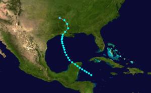 1905 Atlantic hurricane season - Image: 1905 Atlantic tropical storm 3 track