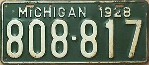1928 in Michigan - Image: 1928 Michigan license plate