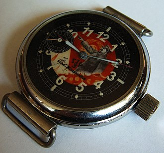 Poljot - 1930s watch from Kirov First State Watch Factory, Moscow. Face with portrait of Joseph Stalin.