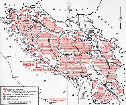 Territories under Partisan control, September 1944 1944 Yugoslavia liberated territories.jpg