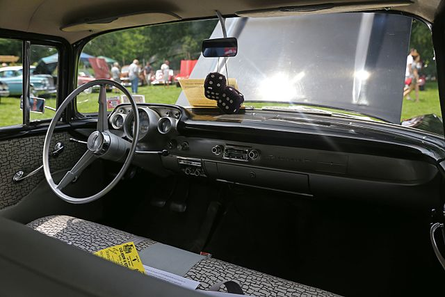 What Is A Sedan >> File:1957 Chevrolet 150 interior, dashboard.jpg - Wikimedia Commons