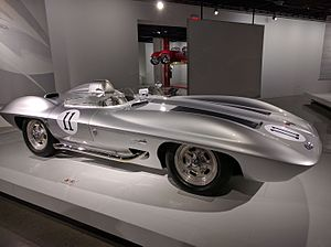 Corvette Stingray (concept car) - 1959 Corvette XP-87 Stingray Racer on display at the Peterson Automotive Museum in Los Angeles, California in July 2016.