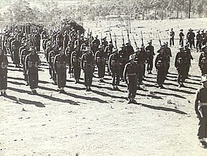 2/25th Battalion (Australia) - Members of the 2/25th Battalion on parade at Strathpine in Brisbane during the Battalion's fourth anniversary parade in July 1944.