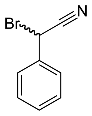 Bromobenzyl cyanide - Image: 2 bromo 2 phenylacetonitrile 2D skeletal