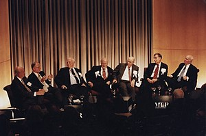 "Robert Rosencrans - Panelists discussing the first use of a satellite to distribute cable television programming, the 1975 ""Thrilla in Manila"" boxing match between Muhammad Ali and Joe Frazier. Left to right: Monty Rifkin, Jack Cole, Hubert Schlafly, Sid Topol, Bob Rosencrans, Gerald M. Levin, Brian Lamb."