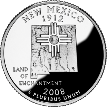 New Mexico state quarter circulated in April 2008 2008 NM Proof.png