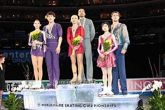 2009 World Figure Skating Championships - The pairs podium. From left: Zhang Dan / Zhang Hao (2nd), Aliona Savchenko / Robin Szolkowy (1st), Yuko Kavaguti / Alexander Smirnov (3rd).