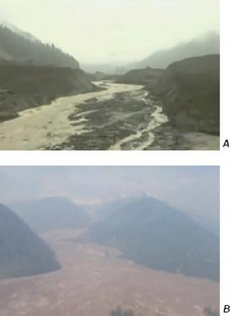 Mount Meager massif - These river valleys are filled with debris from the 2010 landslide of Mount Meager. Photo A is the collapsed debris dam near the intersection of Capricorn Creek and Meager Creek. Photo B is the debris flow at the junction of Meager Creek and the Lillooet River.
