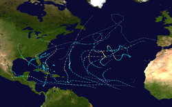 A map of the Atlantic Ocean depicting the track of 19 tropical cyclones.