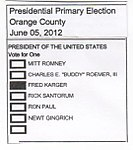 2012 California Republican Primary ballot filled-out for Fred Karger.jpg