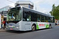 2013 in Bonn. BYD ebus (electrical bus). Bus facing left 1. Spielvogel.JPG