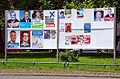 2014-05-22 Stellwände mit Plakaten zur Europawahl (Europäisches Parlament), Wahl des Regionspräsidenten und von zehn Bürgermeisterin in der Region Hannover, Goetheplatz.jpg