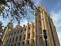 2015-09-25 18 43 33 South and east sides of the Salt Lake Temple of the Church of Jesus Christ of Latter Day Saints (Mormon Church) in Salt Lake City, Utah.jpg