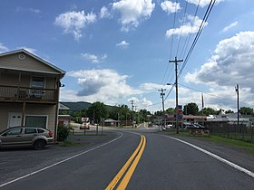 2016-06-25 16 07 31 View east along West Virginia State Route 9 (Henry W Miller Highway) at Depot Street in Paw Paw, Morgan County, West Virginia.jpg