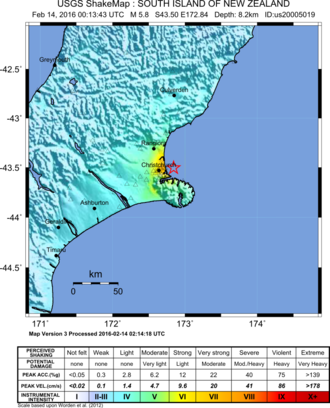 2016 Christchurch earthquake - Map of the earthquake and its intensity