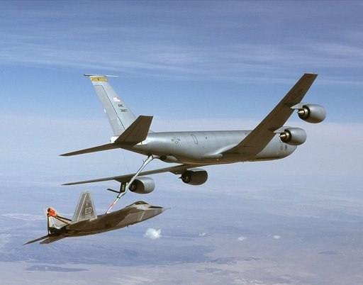 22nd Air Refueling Wing KC-135R Stratotanker refuels F-22A Raptor