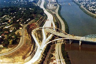 Interstate 64 in West Virginia - The U.S. Route 119 (Corridor G) Fort Hill interchange under construction in 1973 in Charleston, West Virginia.
