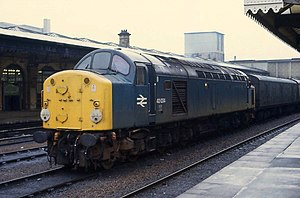 Design Research Unit - British Rail class 40 locomotive, featuring the 1965 corporate branding by DRU