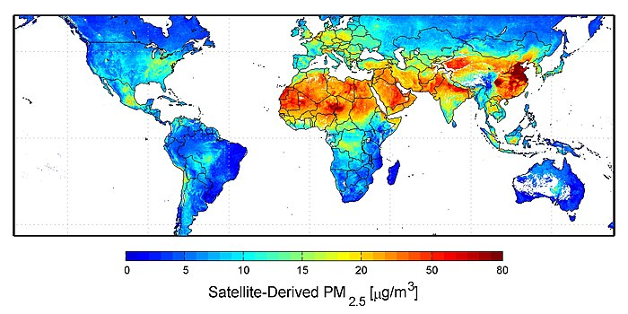 Average global distribution of particulate matter (PM2.5) concentrations (2001-2006). 483897main Global-PM2.5-map.JPG