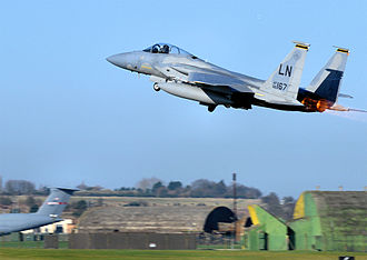493d Fighter Squadron - 493d Fighter Squadron F-15C-42-MC Eagle - 86-0167 taking off in 2009