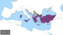 L'Empire byzantin en 802 après JC.