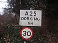 A25 sign Gomshall - geograph.org.uk - 1088072.jpg