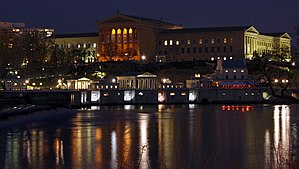 Philadelphia Museum of Art - Main building at night above Fairmount Water Works