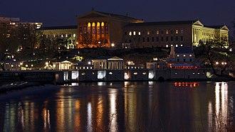 Philadelphia Museum of Art - Main building at night above Fairmount Water Works