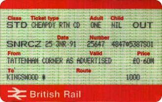 Senior Railcard - The SNRCZ variation, seen from the introduction of APTIS and PORTIS in 1986 until early 1992.