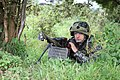 A Bulgarian soldier with the 4th Company, 3rd Mechanized Battalion, 61st Mechanized Brigade provides security Sept 140903-A-FN852-005.jpg