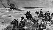 A cavalry patrol watching the burning of farmhouses by the rioters near Bujeu
