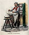 A cook is standing in a kitchen with food in pans on the tab Wellcome V0039657.jpg