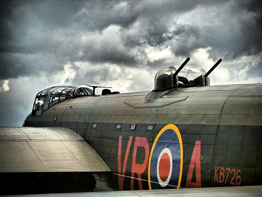 A gun turret on a restored WW2 Lancaster bomber -c