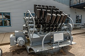 Hedgehog (weapon) - A hedgehog launcher on display at the USS Silversides (SS-236) museum in Muskegon, MI.