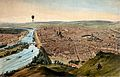 A hot-air balloon travels over Rouen, giving an aerial Wellcome V0040905.jpg
