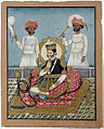 A king of Nepal seated on a terrace with a hookah, with two chauri bearers (6125057500).jpg