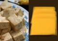 A l'esquerra, anàleg del formatge sense components làctics (tofu); a la dreta, anàleg amb components làctics.png
