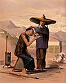 A man in a wide coolie hat is about to shave his customer. C Wellcome V0040695.jpg