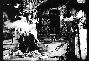 A scene from film, Raja Harishchandra (1913).