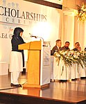 A scholarship recipient while sharing her remarks (8491863713).jpg