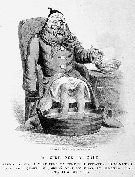 File:A sick man with a cold. Coloured lithograph, 1833. Wellcome L0005370.jpg