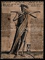 A skeleton with bow and arrow. Etching attributed to Gerhart Wellcome V0042119.jpg