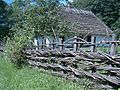 A wooden pole fence from Sanok County, Skansen in Sanok 01.JPG