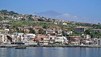 Aci Trezza - Aci Trezza with Mount Etna in the background.